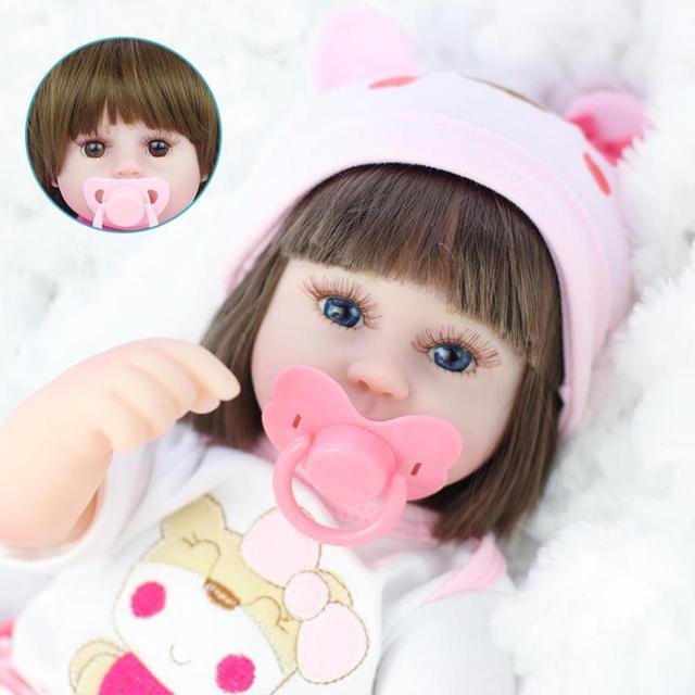 42cm Straight Hair Reborn Baby Doll Adorable Soft Lifelike Doll Simulation Bebe Doll Toys For Girls 5