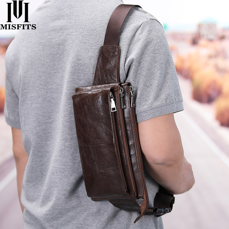 MISFITS Cow Leather Waist Bag For Men Travel Waist Pack Vintage Small Fanny Pack Male Belt Pouch Bag Casual Cell Phone Chest Bag