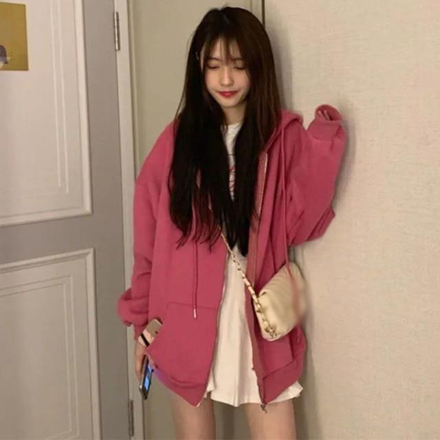 Zip-up Women Korean Style Hoodies Vintage Solid Color Long Sleeve Oversized Hooded Sweatshirt Lady Women Casual Large Coats 3