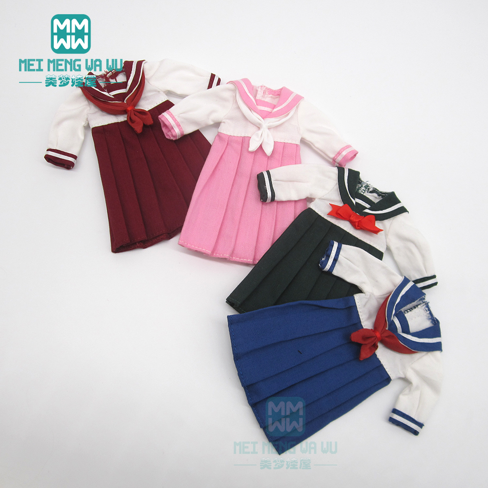 Doll Clothes Fashion School Uniform Pink, Blue, Ink, Wine Red For Blyth Azone OB23 OB24 1/6 Doll Accessories