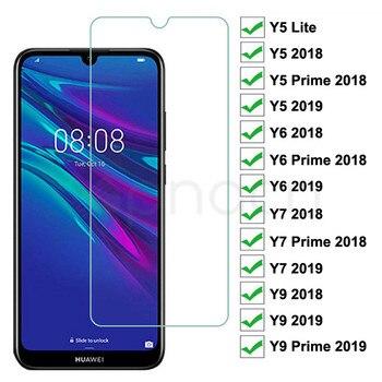 Перейти на Алиэкспресс и купить Закаленное стекло 9H для Huawei Y5 Lite Y5 Y6 Y7 Prime 2018 2019 Защитная пленка для экрана Y9 2018 Prime 2019