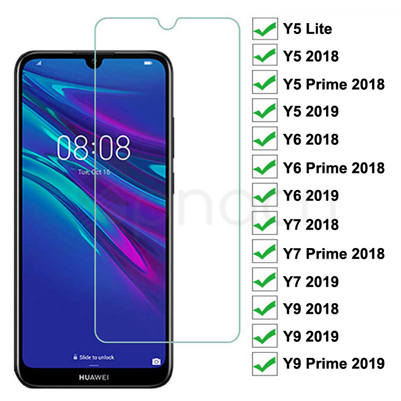 9H Tempered Glass For Huawei Y5 Lite Y5 Y6 Y7 Prime 2018 2019 Screen Protector Y9 2018 Prime 2019 Safety Protective Glass Film