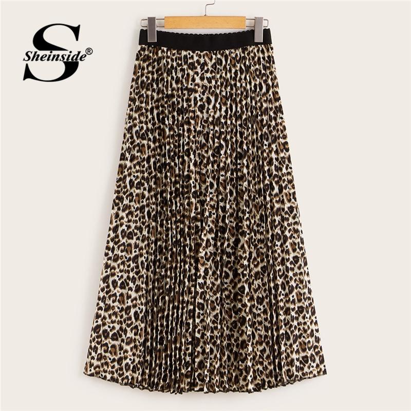 Sheinside Leopard Print Casual Pleated Skirt Women 2019 Autumn Mid Waist Midi Skirts Ladies Elastic Waist Flared Skirt