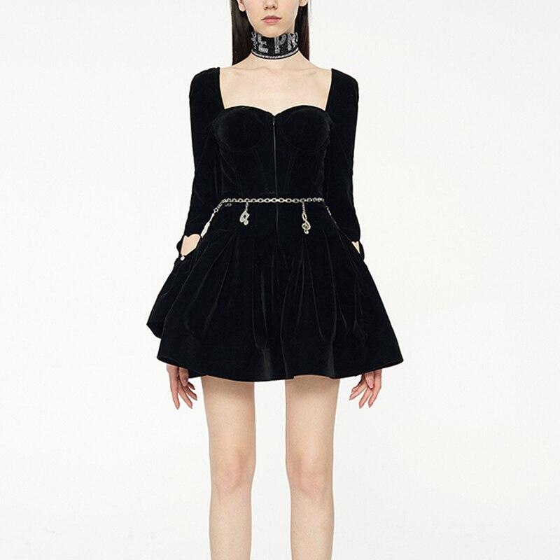 2019 haute qualité robe de créateur femmes noir Mini robe femme velours manches longues Mini robes avec cristal dames piste vêtements