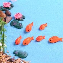Тонкая камедь Золотая рыбка Карп Рыба лист, цветок лотоса культура пруд модель маленькие статуэтки ручной работы DIY стол домашний орнамент