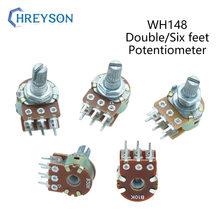 2Pcs WH148 1K 2K 5K 10K 20K 50K 100K 500K Shaft Amplifier Dual Stereo Potentiometer B1K B2K B5K B10K B20K B50K B500K 6Pin 15mm