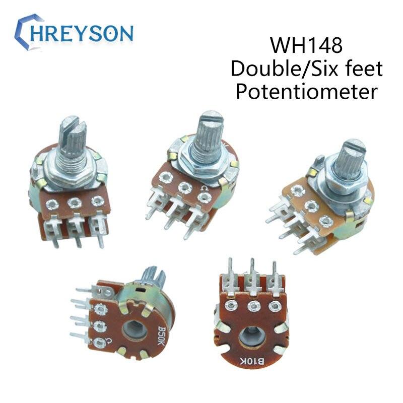 Усилитель WH148 1K 2K 5K 10K 20K 50K 100K 500K вал, двойной стерео потенциометр B1K B2K B5K B10K B20K B50K B500K 6-контактный 15 мм, 2 шт.