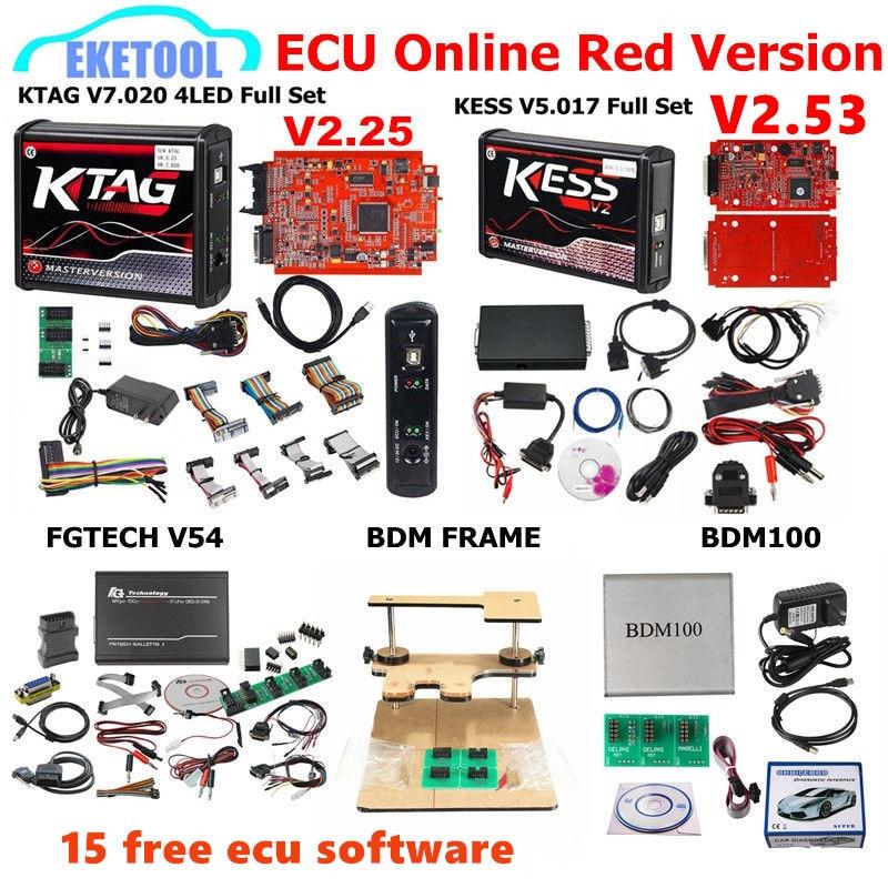 Red EU KESS V5.017 SW2.53 KTAG V7.020 SW2.25 FGTECH V54 0475/0386 BDM FRAME BDM100 1255 9 Free ECU As GIFT KESS 5.017 KTAG 7.020