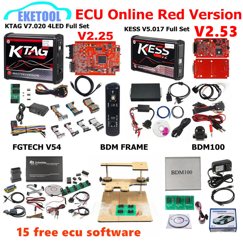Rojo de la UE KESS V5.017 SW2.53 KTAG V7.020 SW2.25 FGTECH V54 0475/0386 BDM marco BDM100 1255 KESS 5.017 KTAG 7.020 libre 15 ecus como regalo