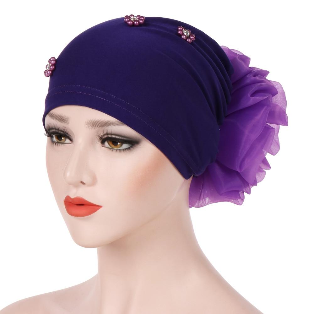 New Braid Faux Pearl Muslim Women Turban Hat Solid Color Cap Hijab Headwrap