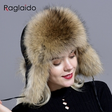 Hats Russian-Hat Real-Fur Winter Windproof Women for Thick Warm Trapper with Balls Popular