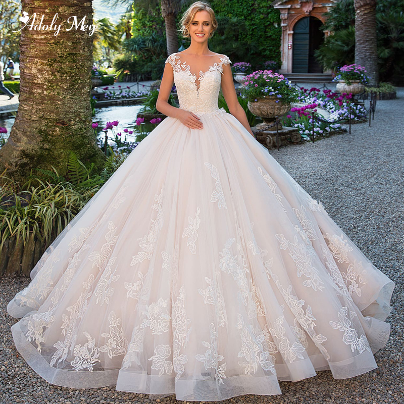 Adoly Mey Charming Scoop Neck Backless A-Line Wedding Dresses 2020 Gorgeous Court Train Appliques Cap Sleeve Princess Bride Gown