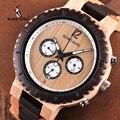 BOBO VOGEL Holz Männer Uhr Chronograph Militär Quarz Armbanduhr Männlichen Luxus Stilvolle Uhren Zeigen datum in Weihnachten Geschenke Box-in Quarz-Uhren aus Uhren bei