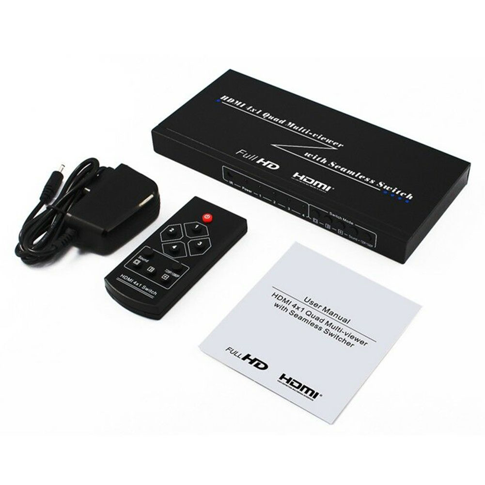 1080P 4 In 1 Out KVM Switches Picture Splitter Seamless Sharing DNF HDMI Multi-Viewer Switcher Display Office Computer Accessory