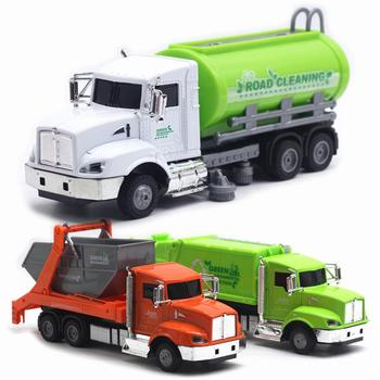 1/43 Alloy Sanitation Trash Car Truck Pull Back With Music LED Model Kids Hobbies Toy Gift Home Decoration image
