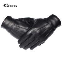 Guantes de invierno para hombre, guantes de piel auténtica para pantalla táctil, piel de oveja auténtica, forro de lana, guantes cálidos para conducir, GSM050