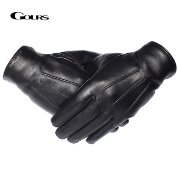 GOURS Winter Gloves Men Genuine Leather Gloves Touch Screen Black Real Sheepskin Wool Lining Warm Driving Gloves New GSM050 genuine leather gloves for women fingerless black fashion sheepskin wool one gloves winter half finger driving soft new arrival