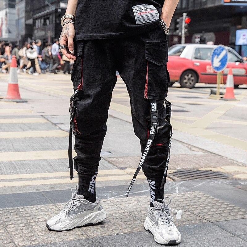 Брюки-карго мужские с множеством карманов, в стиле хип-хоп, черные свободные спортивные штаны с лентами и надписями, модная уличная одежда, д...
