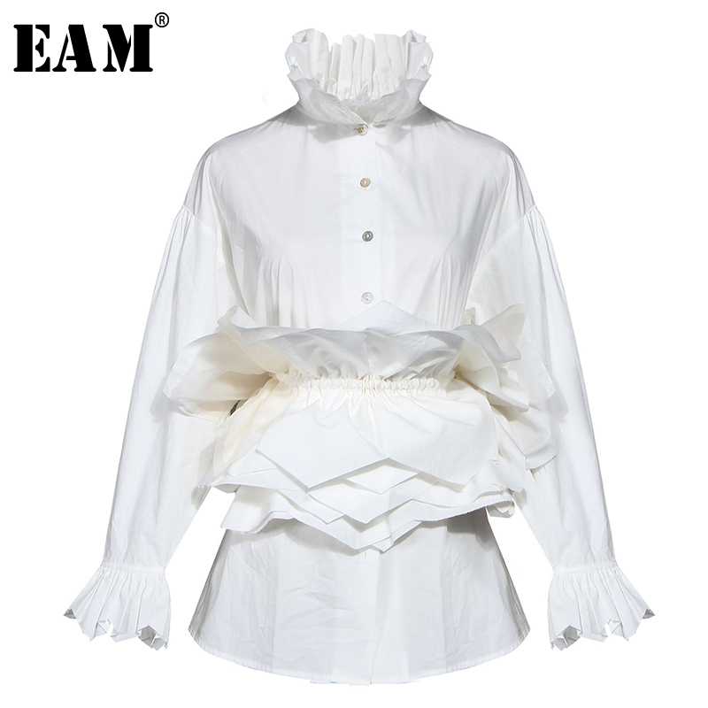 [EAM] Women White Ruffles Split Blouse New Stand Collar Long Sleeve Loose Fit Shirt Fashion Tide Spring Autumn 2020 1N882