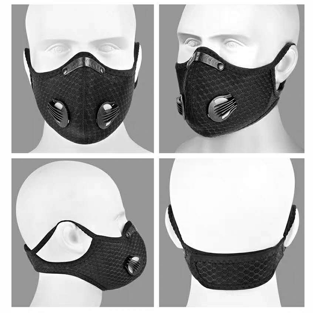 1Pcs Cycling PM2.5 Mouth Mask Activated Carbon Filter Masks Replaceable Filter Antibacterial Dustproof 5-Layers Filters Anti-flu