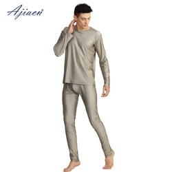 Мужской комплект нижнего белья с длинным рукавом и защитой от электромагнитного излучения, 5g, EMF, 100% Серебряное волокно, нижнее белье