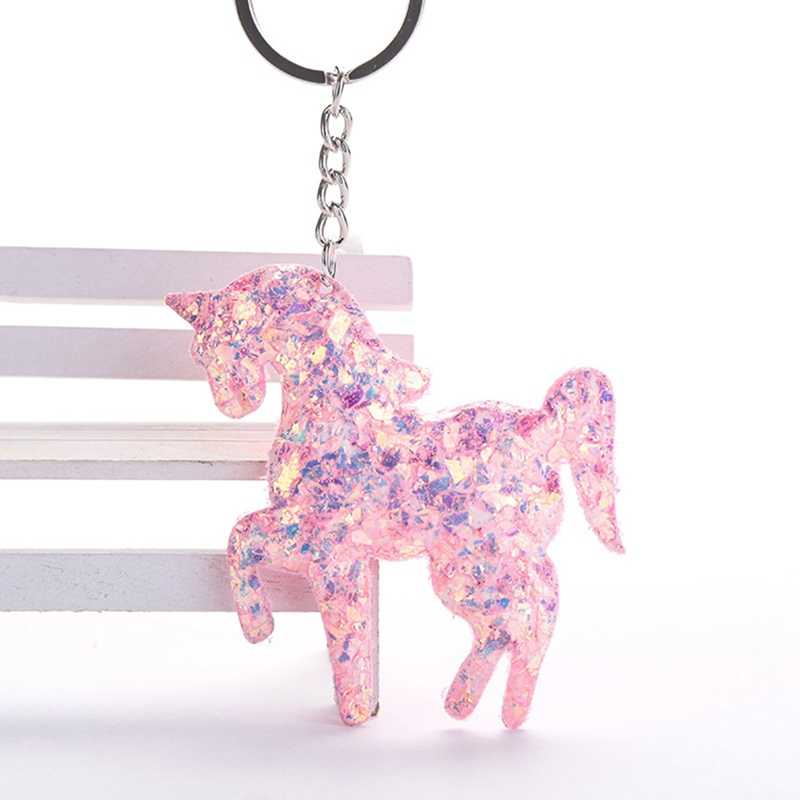 Cute Unicorn Keychain Glitter Sequins Key Ring Gifts for Women Llaveros Mujer Charms Car Bag Accessories Key Chains