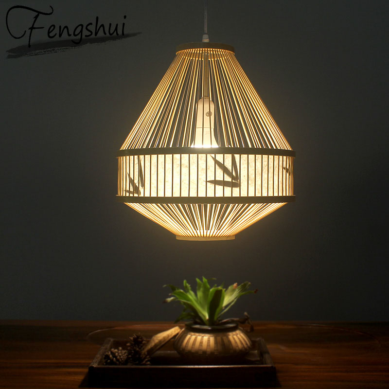 Japan Style Bamboo Pendant Lights Lighting LED Light Fixture Pendent Lamp Dining Living Room Bedroom Kitchen Cafe Hanging Lamp