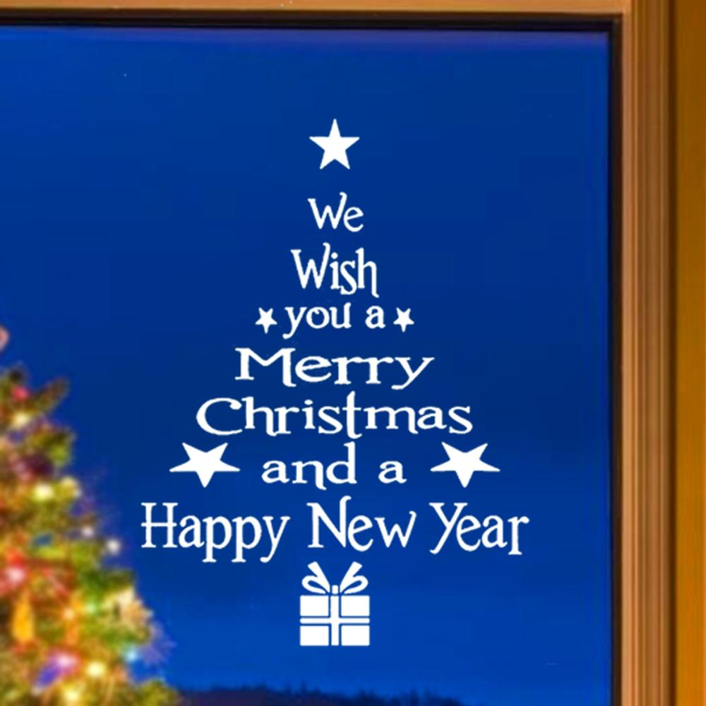 HUIRAN 2019 Merry Christmas Tree Santa Claus Elk Snowman Snowflake Wall Window Sticker Christmas Decorations for Home New Year in Pendant Drop Ornaments from Home Garden