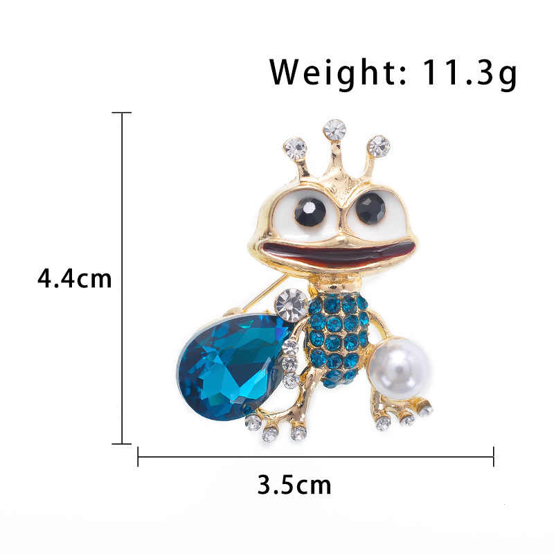 Hewan Mahkota Pangeran Katak Bros untuk Wanita Anak-anak Hadiah Biru Kristal Lucu Enamel Bros Pin Fashion Perhiasan Mutiara Aksesoris