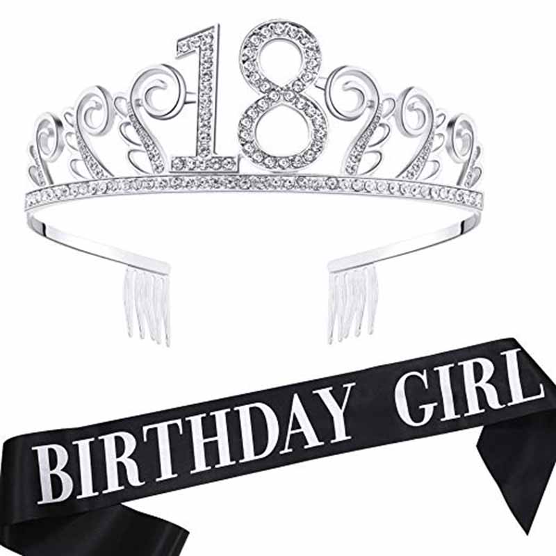 <font><b>18th</b></font> <font><b>Birthday</b></font> girl Sash <font><b>crown</b></font> tiara hat eighteen 18 years old Princess happy <font><b>birthday</b></font> Party Decoration Favor gift supplies image