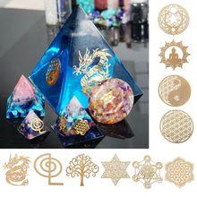 10Pcs 6.8cm 7 Chakra Copper Energy Tower Orgonite Sticker Flower Life Tree Pyramid Epoxy Resin Material Jewelry Making