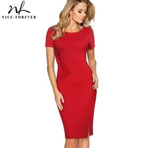 Image 1 - Nice forever Vintage Solid Color Side Split Wear to Work Zipper Bow vestidos Bodycon Office Business Sheath Women Dress B427