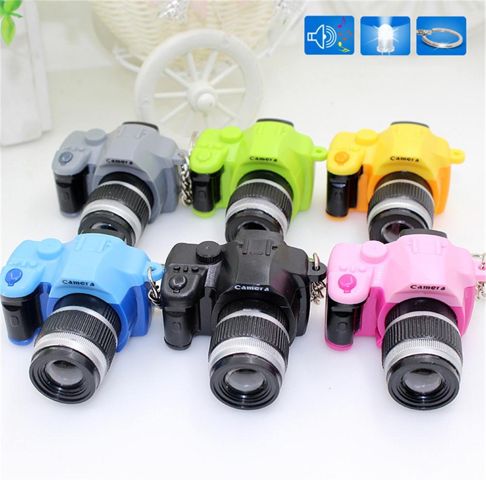 Hot Sale Retro SLR Camera Style LED Camera Flash Light Shutter Sound Key Chains Children Toy