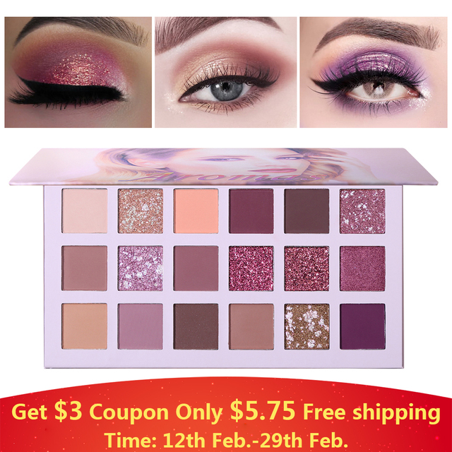 Ucanbe Nude Palette Aromas 18 Colors Matte Glitter Eyeshadow Natural Radiant Shine Eye Shadow Pigment Long Lasting Rose Makeup