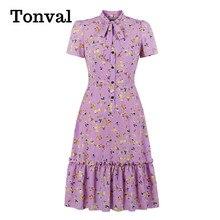 Tonval Lavender Bow Tie Neck Button Up Multicolor Print Midi Dresses Women Short Sleeve High Waist Vintage Slim Ruffle Dress