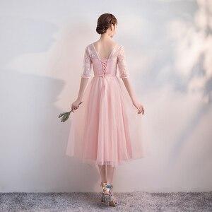 Image 2 - Корейская версия, длинный стиль, плечевой экран, сестры, банкет, свадебные Розовые коктейльные платья с цветами, коктейльное платье Вечерние