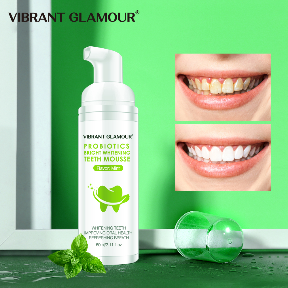 VIBRANT GLAMOUR Tooth Whitening Mousse Remove Plaque Stains Oral Odor Bright Teeth Fresh Breath Toothpaste Portable Dental Tool