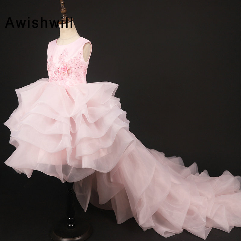 New Pink Communion Dresses Kids Beaded Lace Tiered Organza Girls Pageant Party Dress High Low Flower Girl Dresses for Weddings
