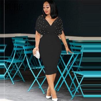 WUHE Plus Size 3XLFashion Slim Dresses for Women V Neck with Bead Classy Ladies Work Office Wear Bodycon Elegant Femme Clothes 5