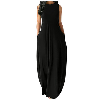 Women's Sleeveless Loose Plain Maxi Dress Casual Vest Solid Color Pocket Summer Boho Beach Long Dresses Plus Size 4XL 5XL 2