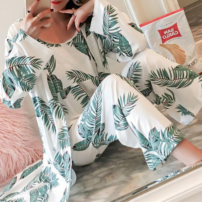 3 Piece Spring Summer Women Pajamas Sets Floral Printed Pajamas Set  Top And Pants Female Night Suit Set Women Sleepwear