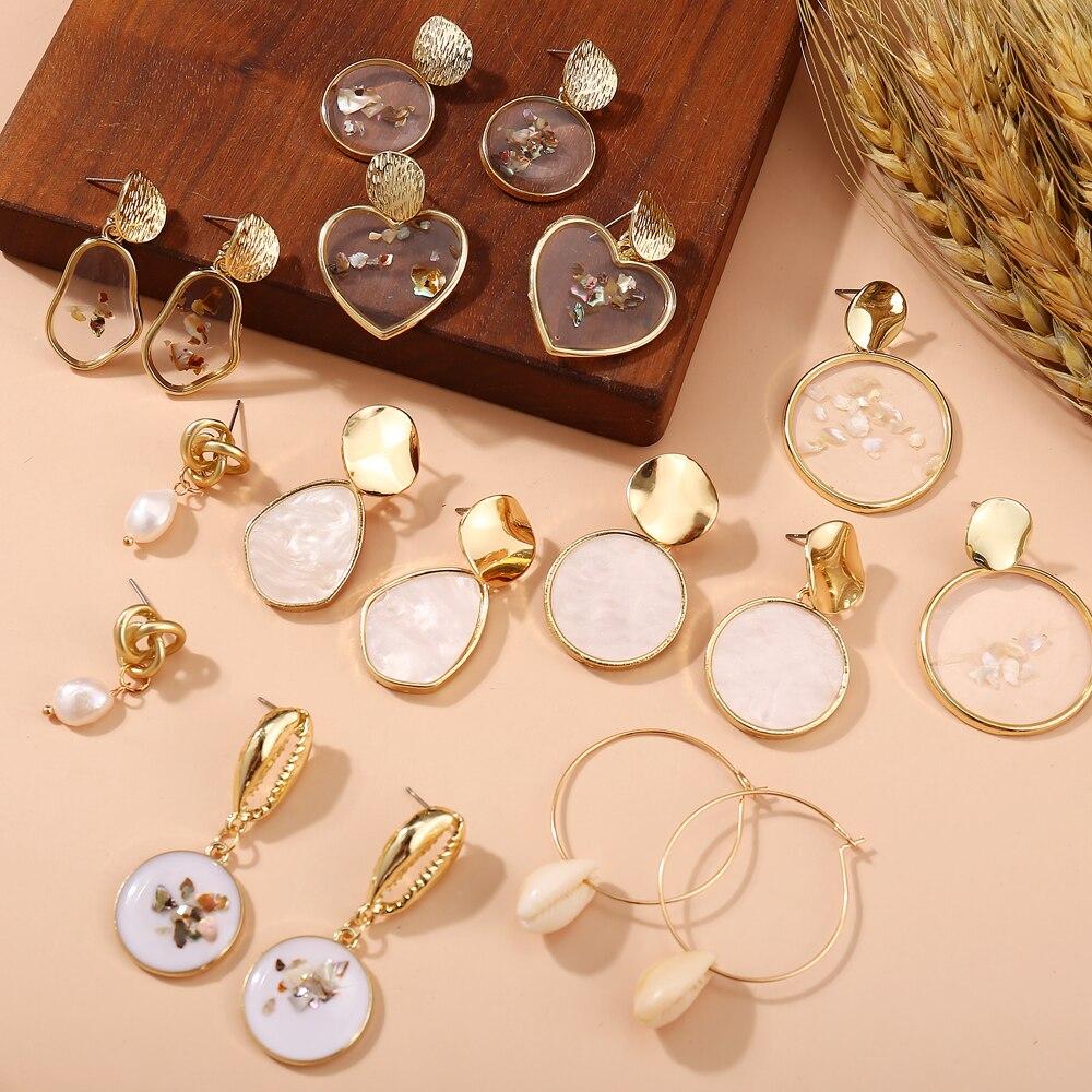 17KM New Vintage Earrings 2020 Geometric Shell Earrings For Women Girl BOHO Resin Drop Earrings Brincos Fashion Tortoise Jewelry