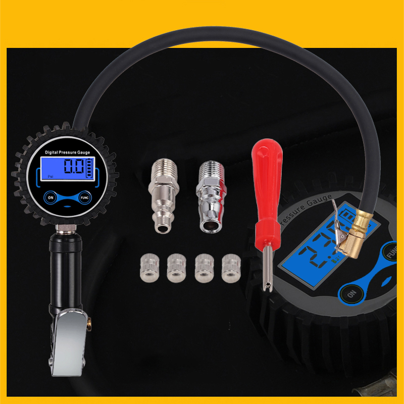 Neoteck 200 PSI Manometer Tester Digital Tire Pressure Gauge With 2 Steel Fitting Brass 4 Valve Caps For Car Tyre