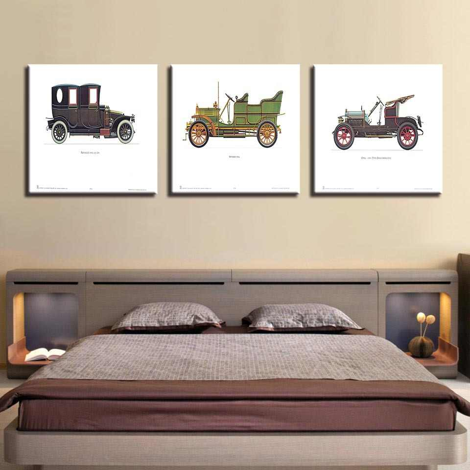 Modern HD Prints3 Panel  Canvas Wall Art Car Sedan Poster Decorative Painting Classic Home Living Room Cafe Decor Mural COLOMAC