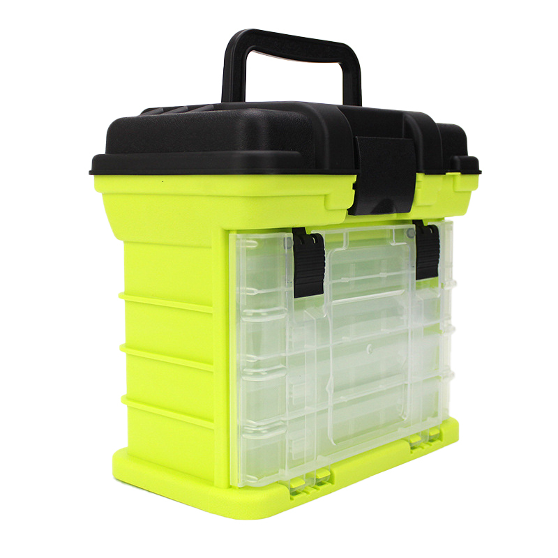 Portable 5 Layer PP+ABS Fishing Tackle Box with Plastic Handle Big Fishing Lures Tools Box Fishing Accessories Case 26x17x26cm (4)