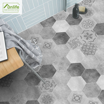 Funlife Floor Stickers Black White Gray Portuguese Tile Anti-Slip Self-Adhesive Waterproof Wall Sticker for Bathroom Kitchen