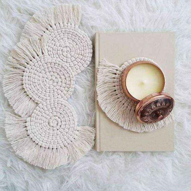 Napperons en macramé tapis de tasse bohême nappe caboteur tapis de tasse Style de leurope du nord pur coton artisanal tresse tapis disolation