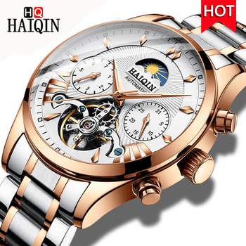 HAIQIN Waterproof Mens Tourbillon Mechanical Automatic Watch Men Moon Phase Wristwatch Top Brand Luxury Male Clock reloj hombre