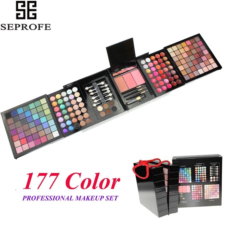 177 Colors Shimmer Glitter Matte Makeup Set Eyeshadow Pallete Powder Blush Lip Gloss Brow Shader Concealer Eyeshadow Gel + Brush