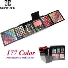 177 couleurs miroitant paillettes mat maquillage ensemble fard à paupières palette poudre Blush brillant à lèvres sourcils Shader correcteur fard à paupières Gel + pinceau